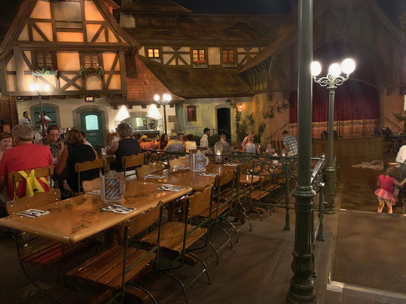long table at Germany dining in Epcot