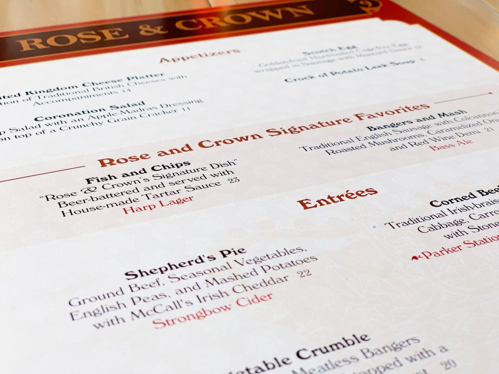 Rose And Crown Menu is the best dining at Epcot