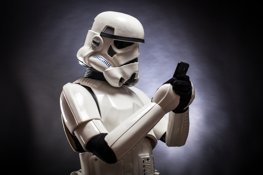Funny storm trooper on phone