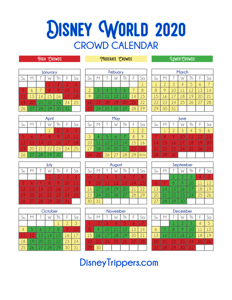 Photo of Disney World Crowd Calendar for the Year
