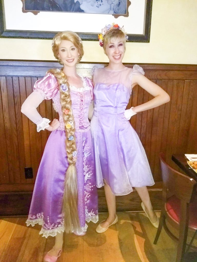 Rapunzel Disneybound outfit with character at Disney World