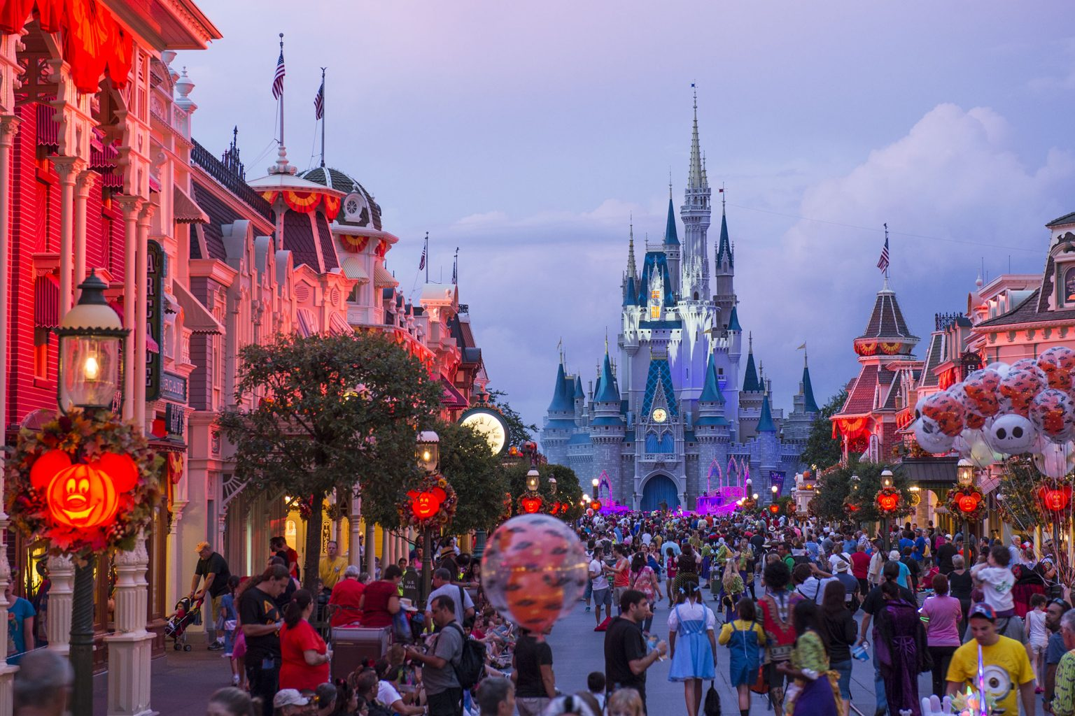 """Eerie lighting, fall dŽcor and Mickey Mouse-shaped Jack-O-Lanterns set the stage at Magic Kingdom for Mickey's Not-So-Scary Halloween Party. The family-friendly after-hours event offers trick-or-treating, meet and greets with favorite characters in costume, plus the must-see """"Mickey's Boo-to-You Halloween Parade"""" and """"Happy HalloWishes"""" fireworks display. Mickey's Not-So-Scary Halloween Party is a special ticket event and takes place on select nights each fall at Walt Disney World Resort in Lake Buena Vista, Fla. (David Roark, photographer)"""
