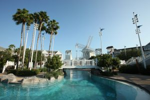 pool with white windmill Disney World resort room requests