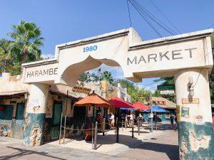 battered, worn down walk way of Harambe Market Animal Kingdom restaurants