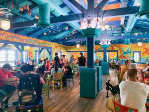 brightly colored interior of Animal Kingdom restaurant