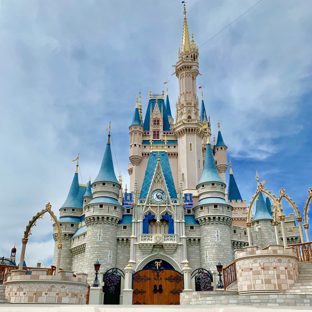 A close up of Cinderella's Castle, at the heart of Magic Kingdom
