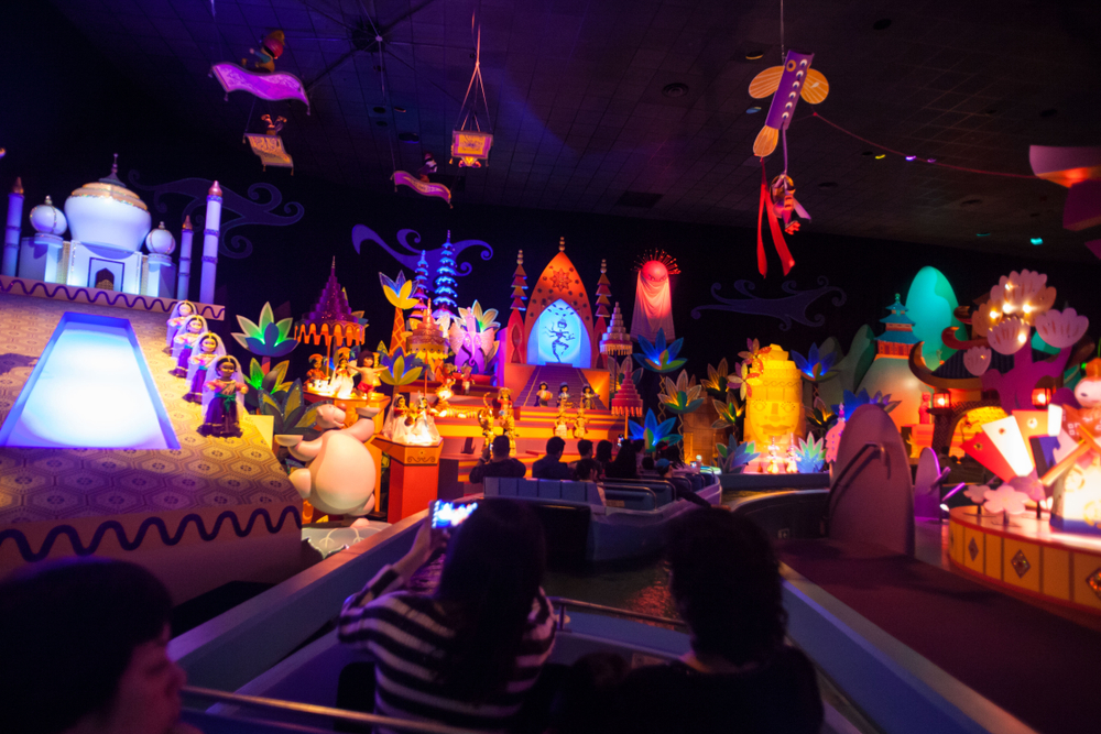 The inside of It's A Small World ride, a classic Magic Kingdom ride.