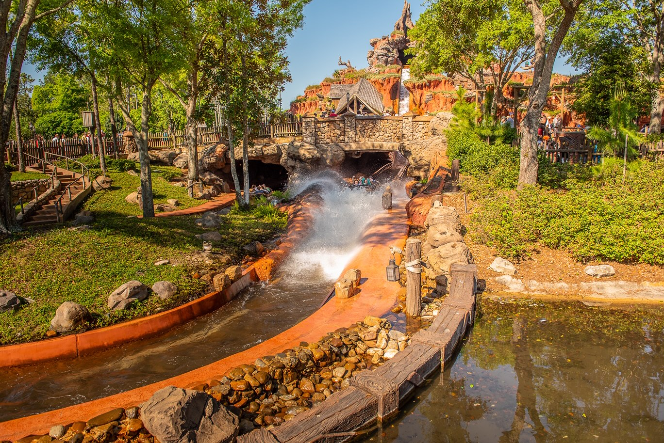 The best Magic Kingdom ride, Splash Mountain, coming down one of the drops with a big splash.