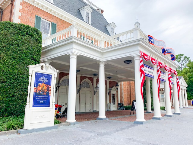 Countries in Epcot American Adventure entrance to American Adventure attraction