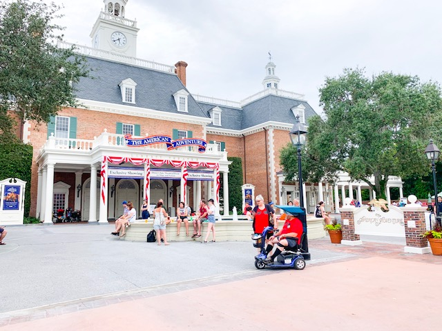 American Adventure Pavilion in EPcot showing front of plaza and pavilion