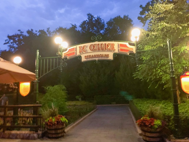 Canada Pavilion entrance to Le Cellier at night