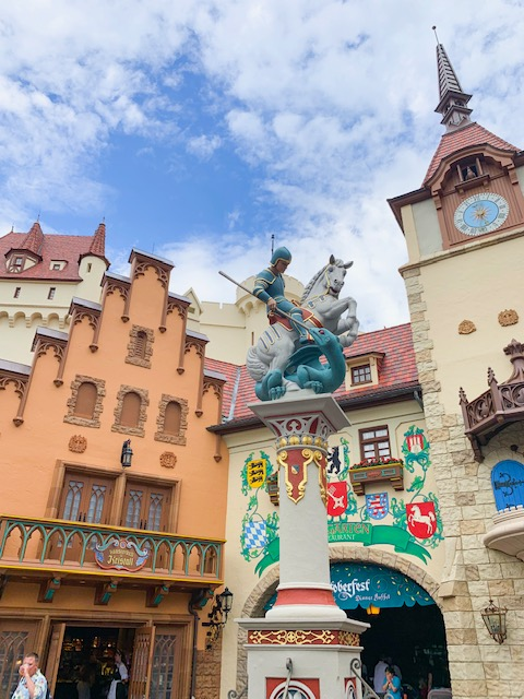 Countries in Epcot Germany Plaza Statute of St George