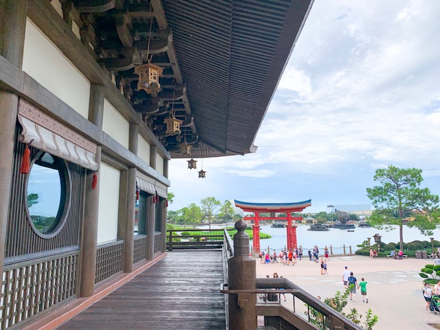 Japan Pavilion in Epcot World Showcase view of Torii and lagoon from restaurant entrance deck