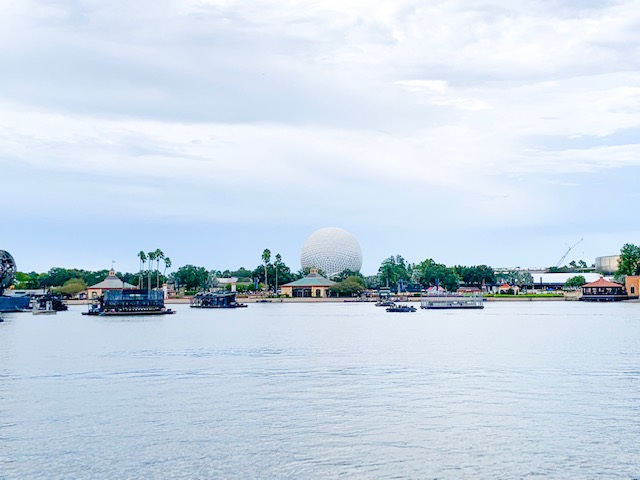 View of Spaceship Earth from Countries in Epcot looking across World Showcase Lagoon