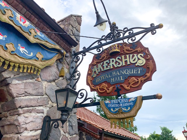 Akershus Sign hung outside restaurant in Norway Pavilion in Epcot World Showcase