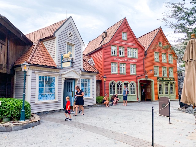 Countries in Epcot Norway Pavilion of house fronts from Norwegian village