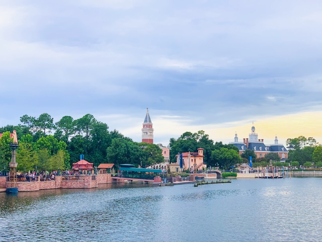 Countries in Epcot from across World Showcase Lagoon showing Germany, Italy, and American Adventure