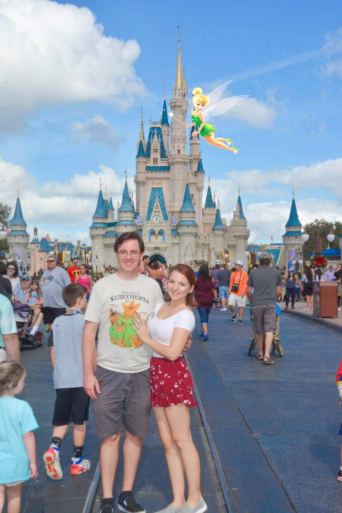 Magic photo with Tinkerbell in front of Cinderella's Castle midday