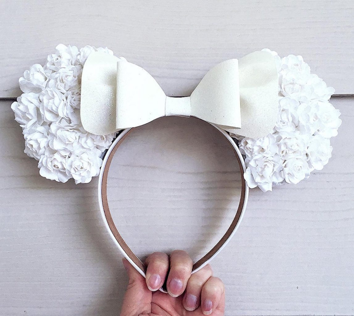 Disney Engagement White Floral Ear Headband