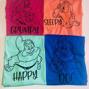 four shirts with grumpy, sleepy, happy, and doc dwarfs