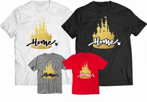 "shirts with golden Cinderella's castle and ""home"" in calligraphy Disney Family Shirts"
