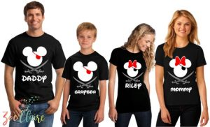 Disney shirts inspired by Pirates of the Caribbean with eye patches and swords
