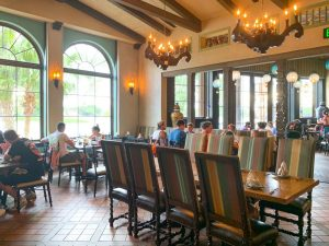 clean dining area with large windows Disney restaurants