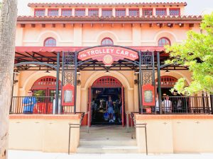European inspired entrance to trolley car cafe