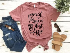 pink t-shirt with calligraphy font Disney shirts for women