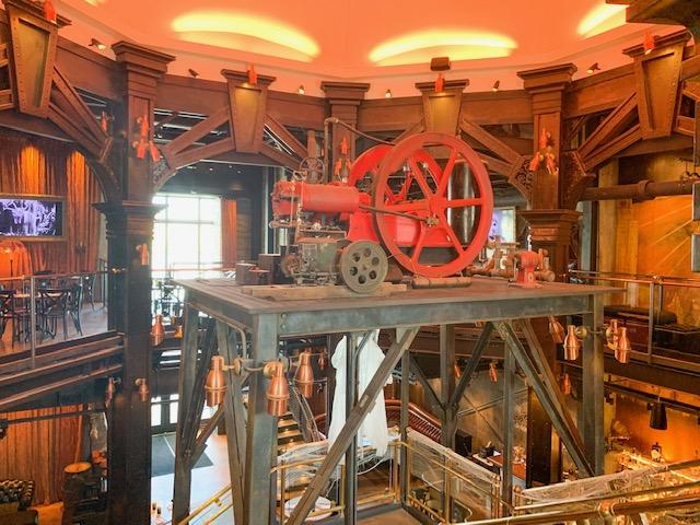 Edison Restaurant at Disney Springs interior crank wheel