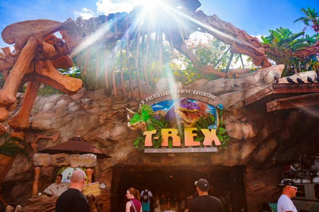 Exterior main entrance of T Rex Restaurant at Disney Springs