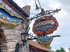 Viking-inspired sign for Akershus restaurant