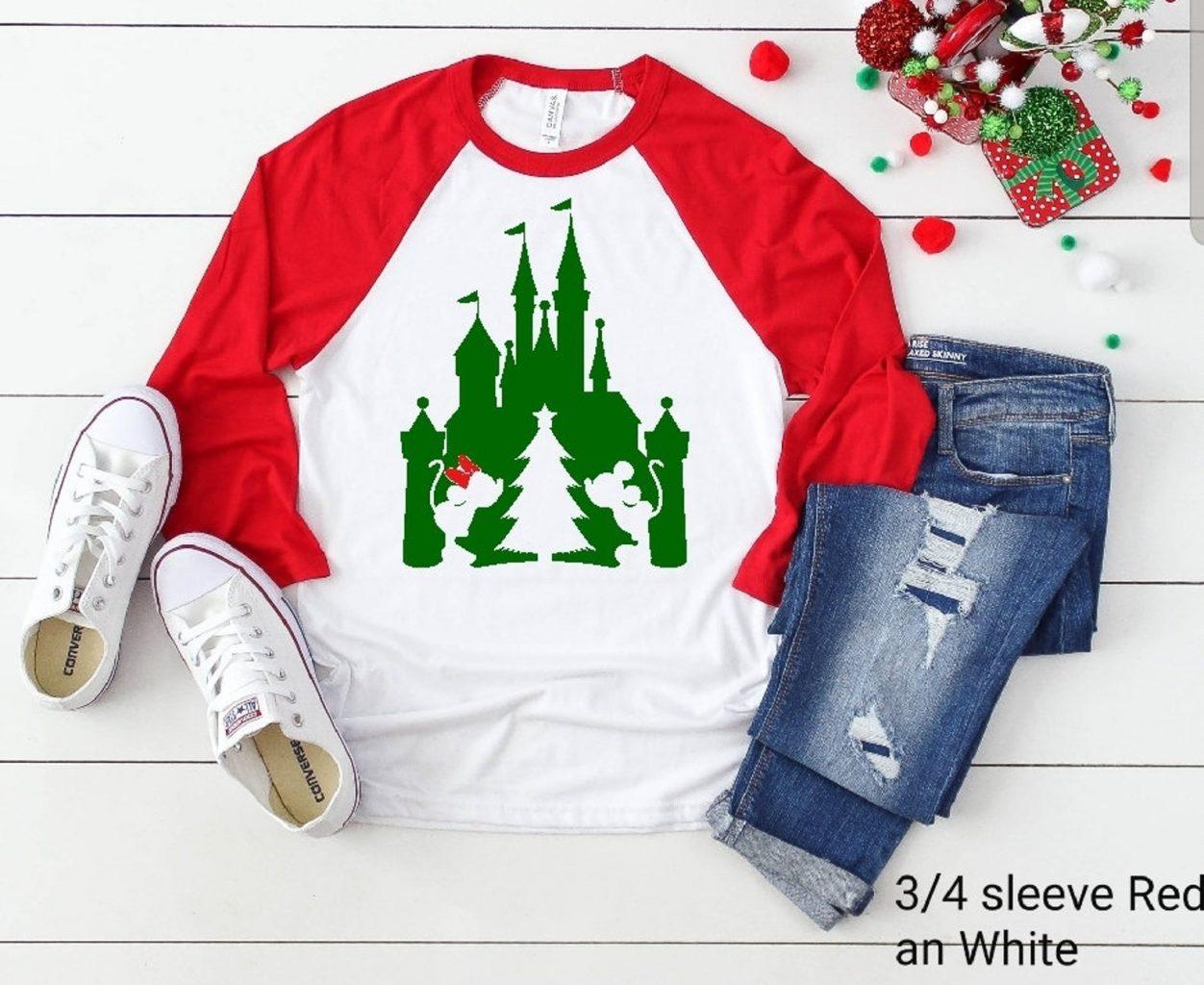 Festive kissing Mickey and minnie Disney christmas shirts