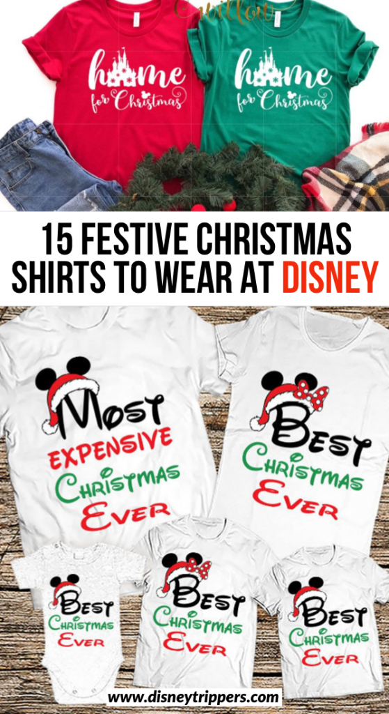 15 Festive Christmas Shirts To Wear At Disney | what to wear to Disney at Christmas | Disney chistmas packing tips | what to wear for Mickey's Very Merry Christmas Party | cute family shirts for Disney #disney #disneychristmas