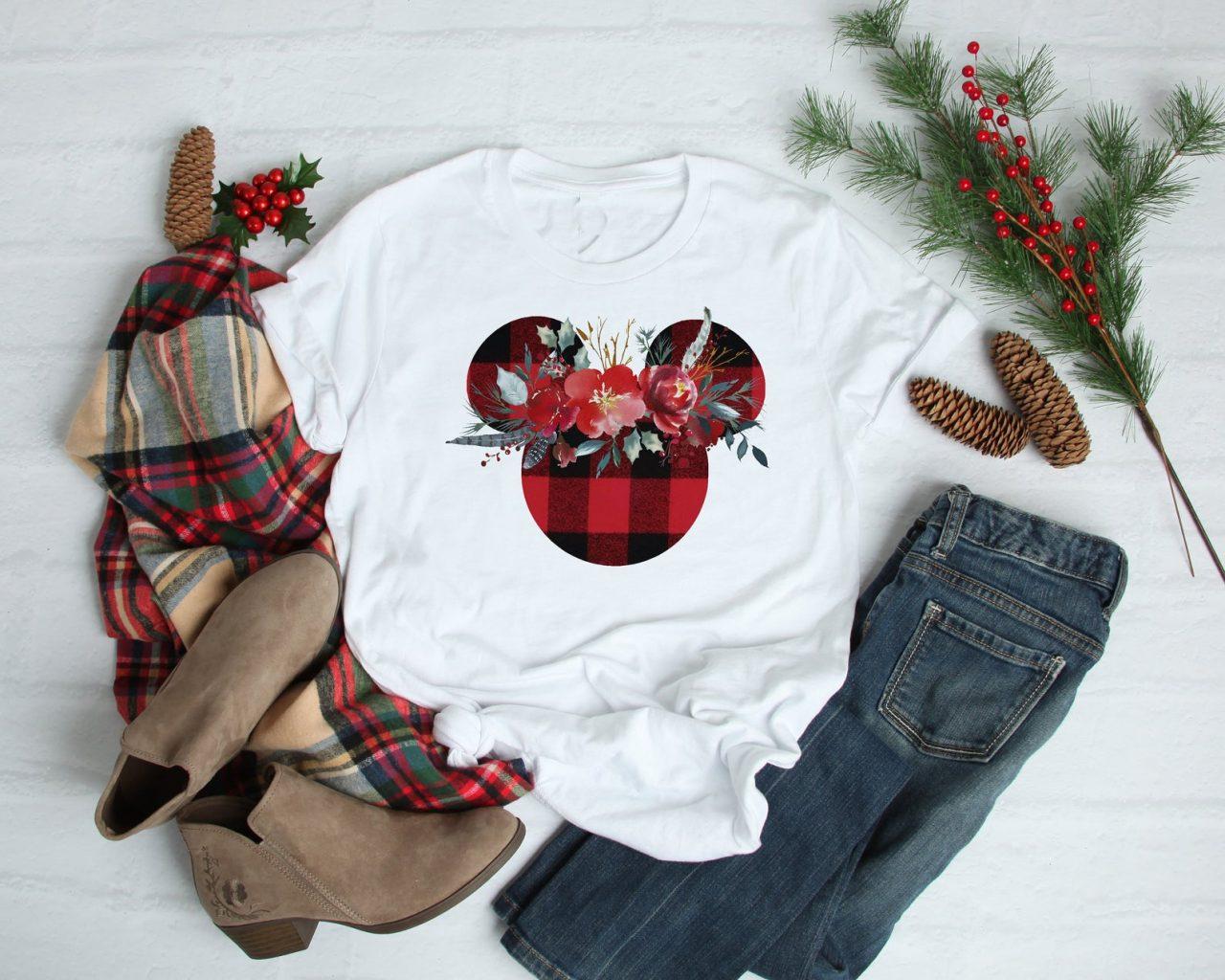 Plaid Mickey Ear Christmas Shirt for women
