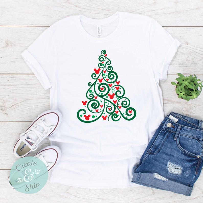 Swirly tree festive Disney christmas shirt for Women and girls