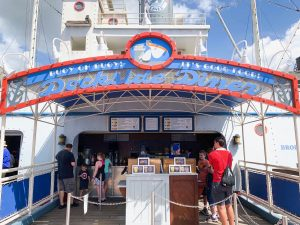 boat entrance to Dockside Diner hollywood studios quick service restaurant
