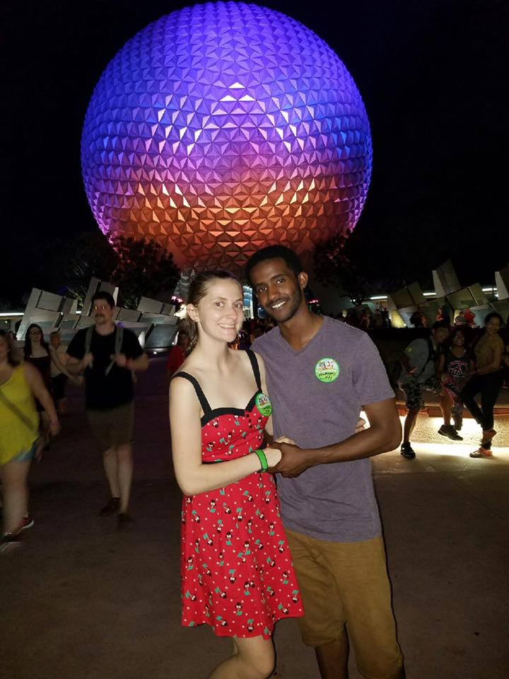 Photo of couple in Epcot.