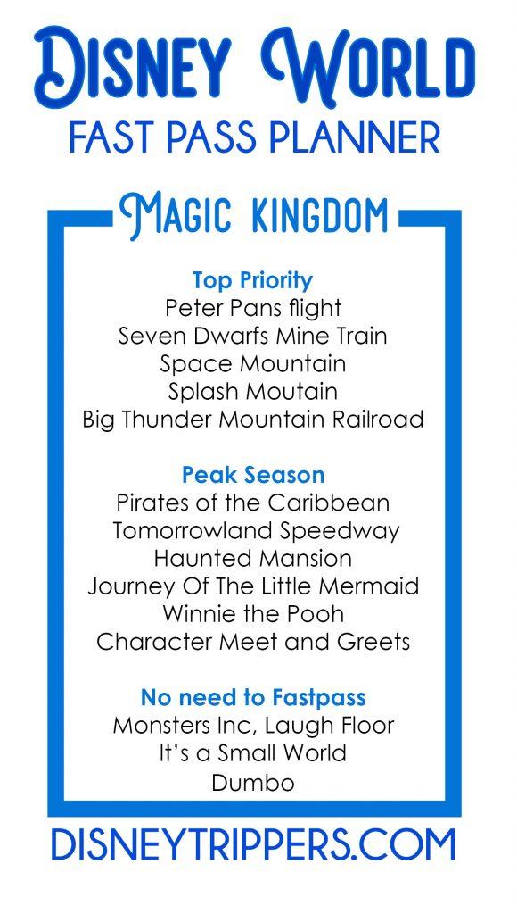 Disney World Magic Kingdom FastPass Planner | How to plan fastpasses at Disney World | Best Disney Fastpass Options