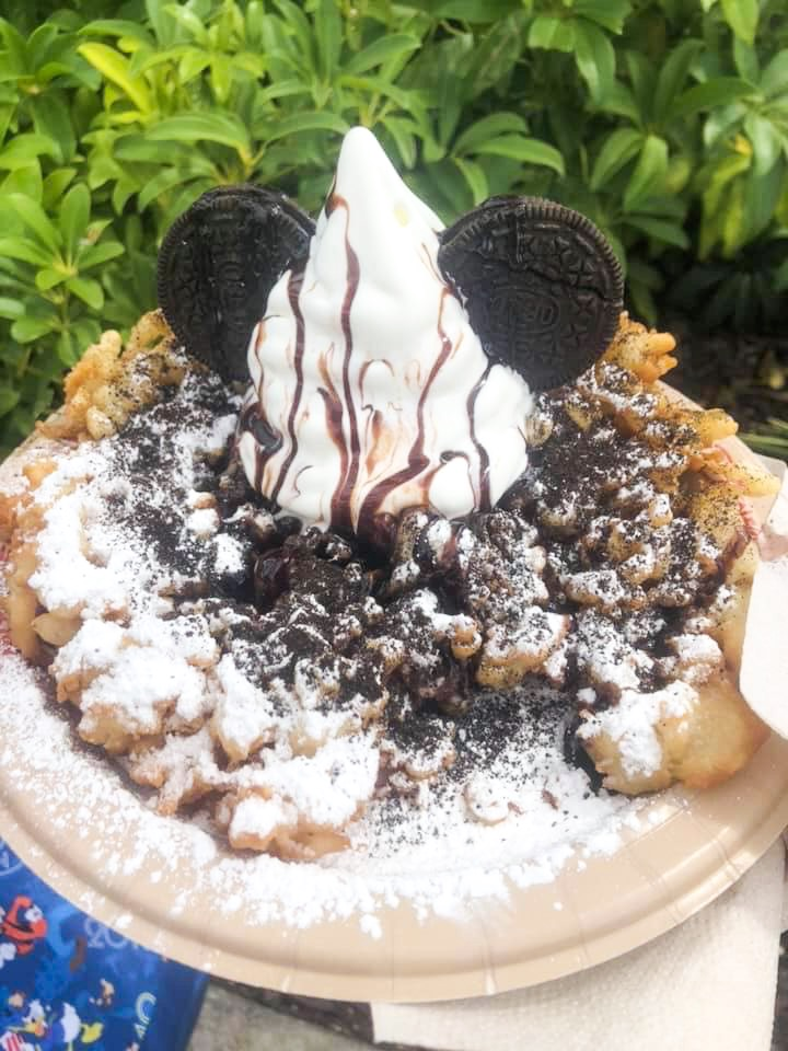 Try Cookies And Cream Funnel Cake for a delightful snack at Disney
