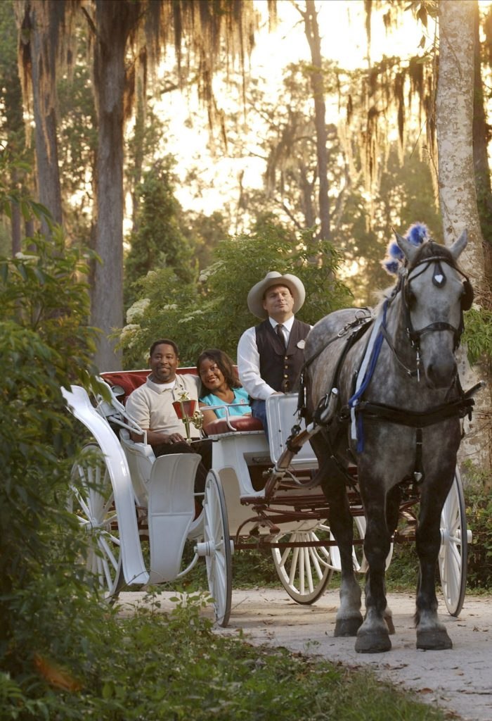 Photo of couple on carriage ride, an excellent Disney honeymoon activity