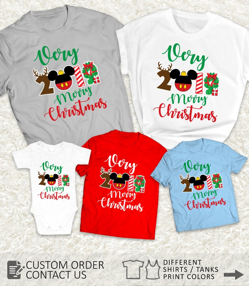 Adorable Merry Christmas disney shirts for the whole family