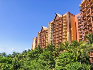 brown curved Aulani resort tower
