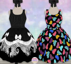 two dresses, one black and white dress, and one dress covered in colorful bows Disney dresses for women