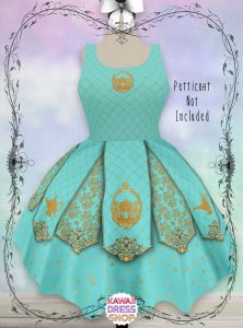 teal dress with gold decorations Disney dresses for women