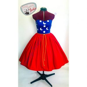 strapless dress with blue starry top and red skirt Disney dresses for women