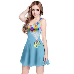 girl wearing light blue Disney dress with balloons and floating house