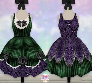 purple and green gothic style dresses Disney dresses for women