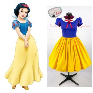 comparison between cartoon of Snow White and Snow White Disney Dresses for women