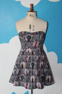 gray dress with Disney villains